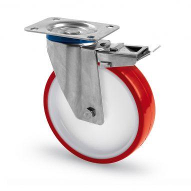 RVS AISI 316 zwenkwiel met rem, plaatbevestiging, polyurethaan wiel, glijdlager, Wiel-Ø 100mm, 150KG