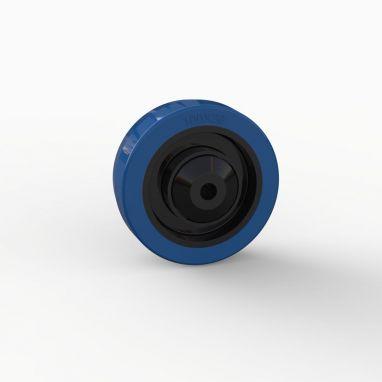 Wiel, Ø 100mm, gevulkaniseerd blauw elastisch rubber band met kunststof draadkappen 180KG