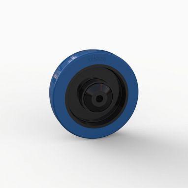 Wiel, Ø 125mm, gevulkaniseerd blauw elastisch rubber band met kunststof draadkappen 200KG
